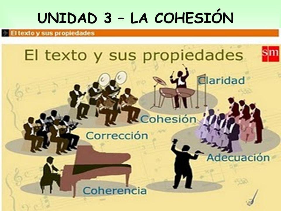 PROPIEDADES TEXTUALES La adecuación: La coherencia: La cohesión: Propiedad por la que el texto se adapta a la situación comunicativa.