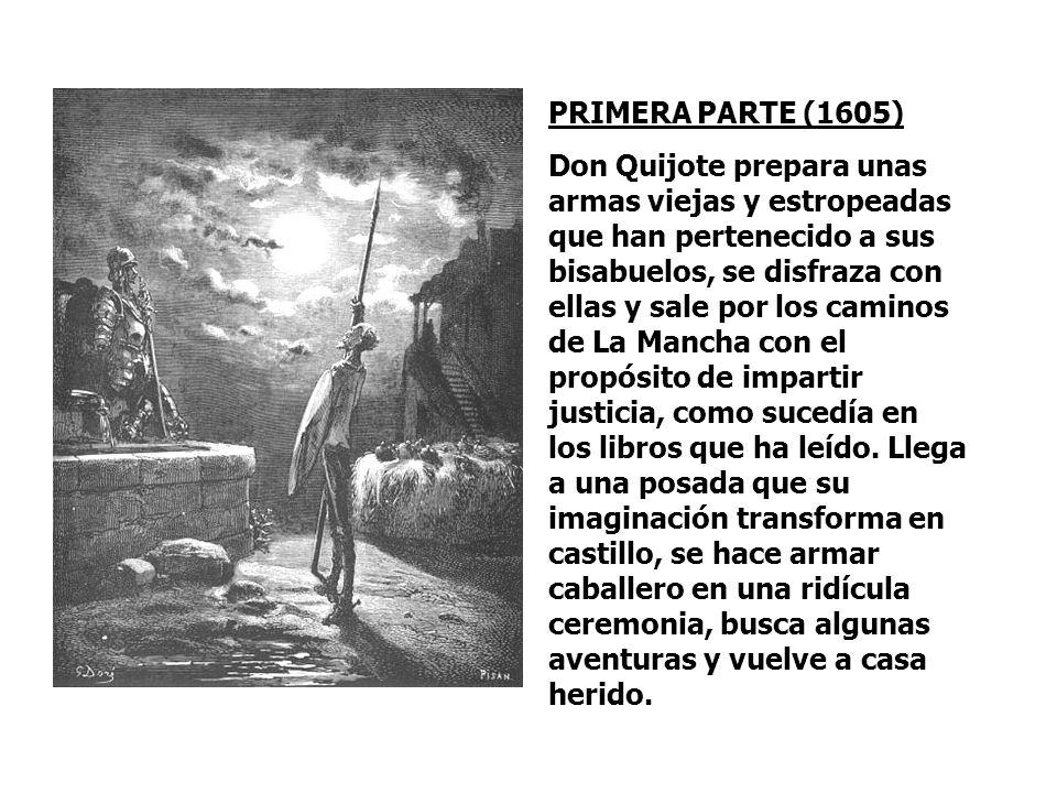ARGUMENTO Alonso Quijano (Don Quijote) se vuelve loco por leer muchos libros de caballerías. Esta locura hace que intente imitar las aventuras que ha