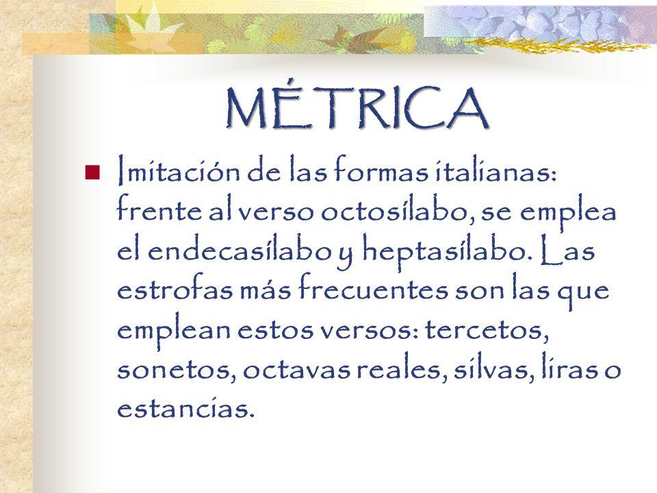 MÉTRICA Imitación de las formas italianas: frente al verso octosílabo, se emplea el endecasílabo y heptasílabo. Las estrofas más frecuentes son las qu