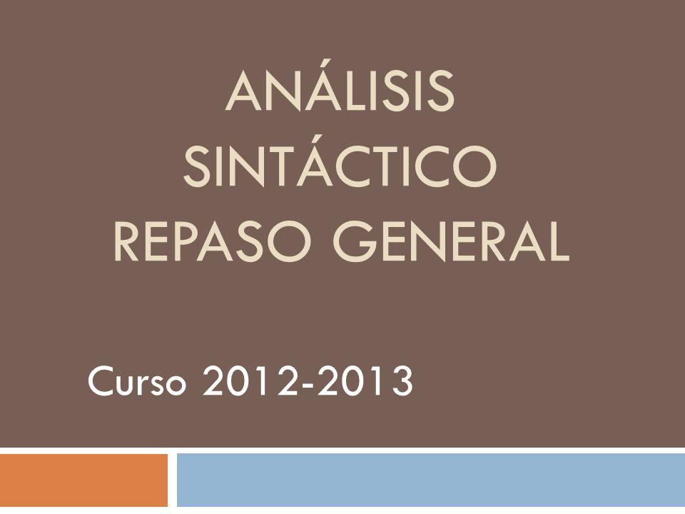 ANÁLISIS SINTÁCTICO REPASO GENERAL Curso 2012-2013