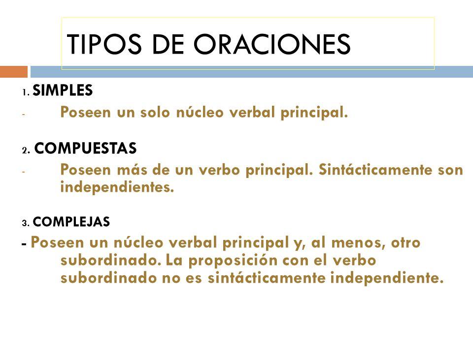 TIPOS DE ORACIONES 1. SIMPLES - Poseen un solo núcleo verbal principal. 2. COMPUESTAS - Poseen más de un verbo principal. Sintácticamente son independ
