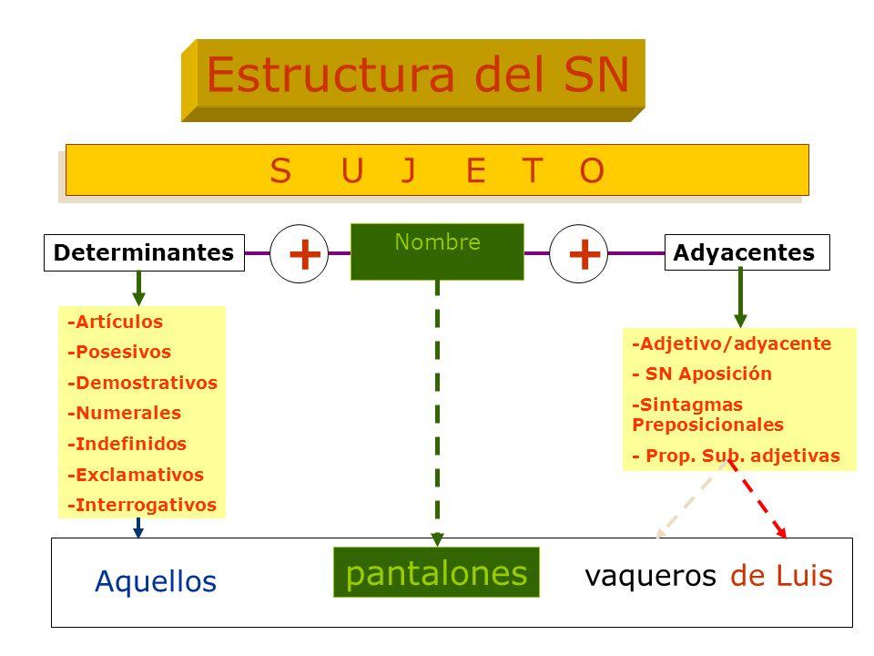 Nombre Adyacentes -Artículos -Posesivos -Demostrativos -Numerales -Indefinidos -Exclamativos -Interrogativos -Adjetivo/adyacente - SN Aposición -Sinta
