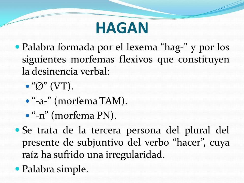 HAGAN Palabra formada por el lexema hag- y por los siguientes morfemas flexivos que constituyen la desinencia verbal: Ø (VT). -a- (morfema TAM). -n (m