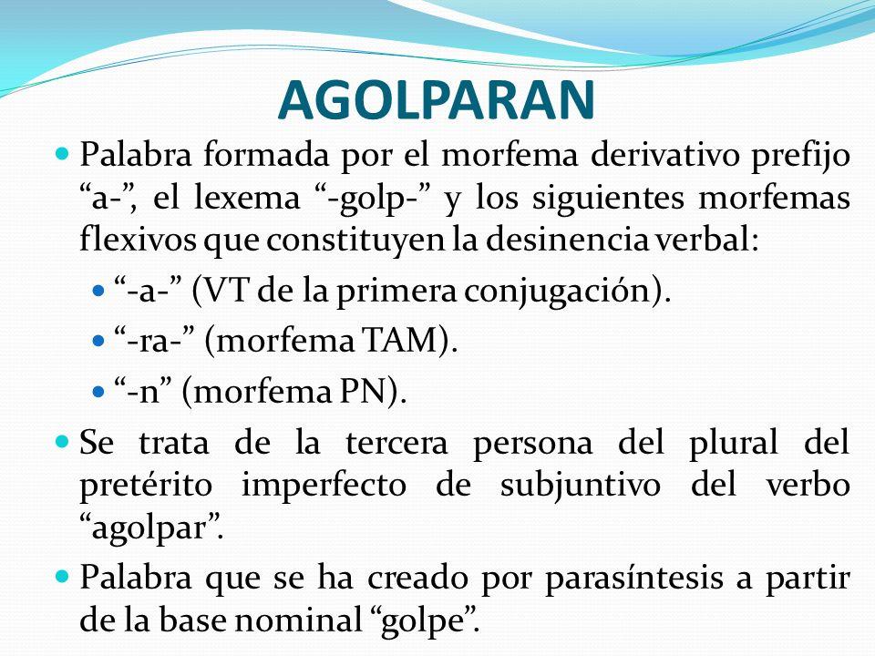 AGOLPARAN Palabra formada por el morfema derivativo prefijo a-, el lexema -golp- y los siguientes morfemas flexivos que constituyen la desinencia verb