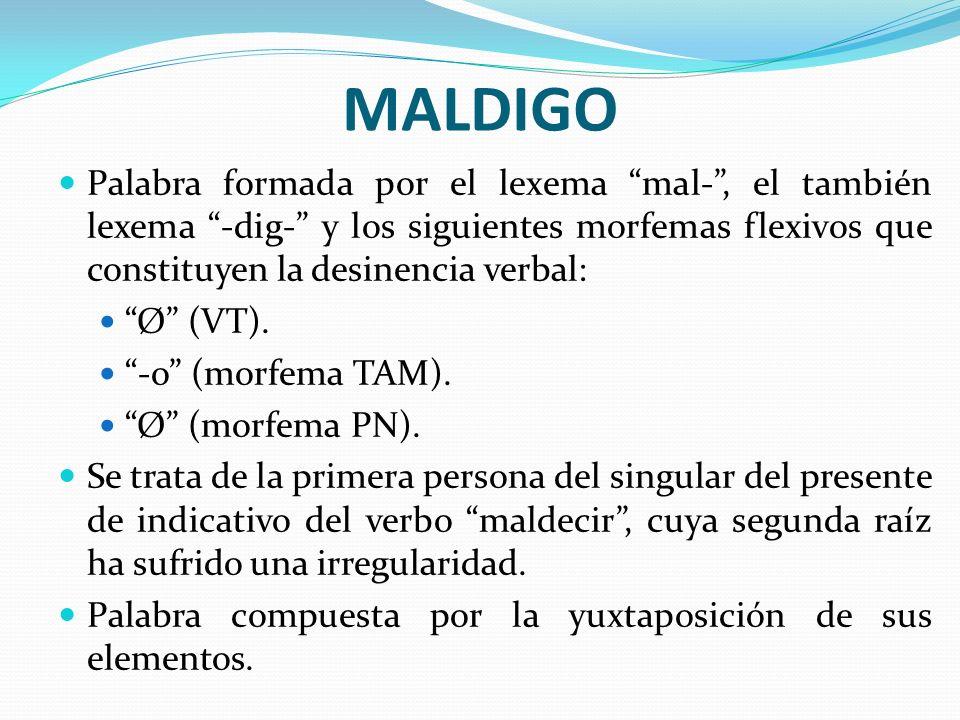MALDIGO Palabra formada por el lexema mal-, el también lexema -dig- y los siguientes morfemas flexivos que constituyen la desinencia verbal: Ø (VT). -