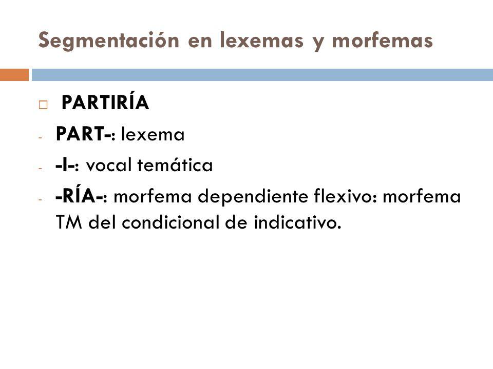 Segmentación en lexemas y morfemas PARTIRÍA - PART-: lexema - -I-: vocal temática - -RÍA-: morfema dependiente flexivo: morfema TM del condicional de