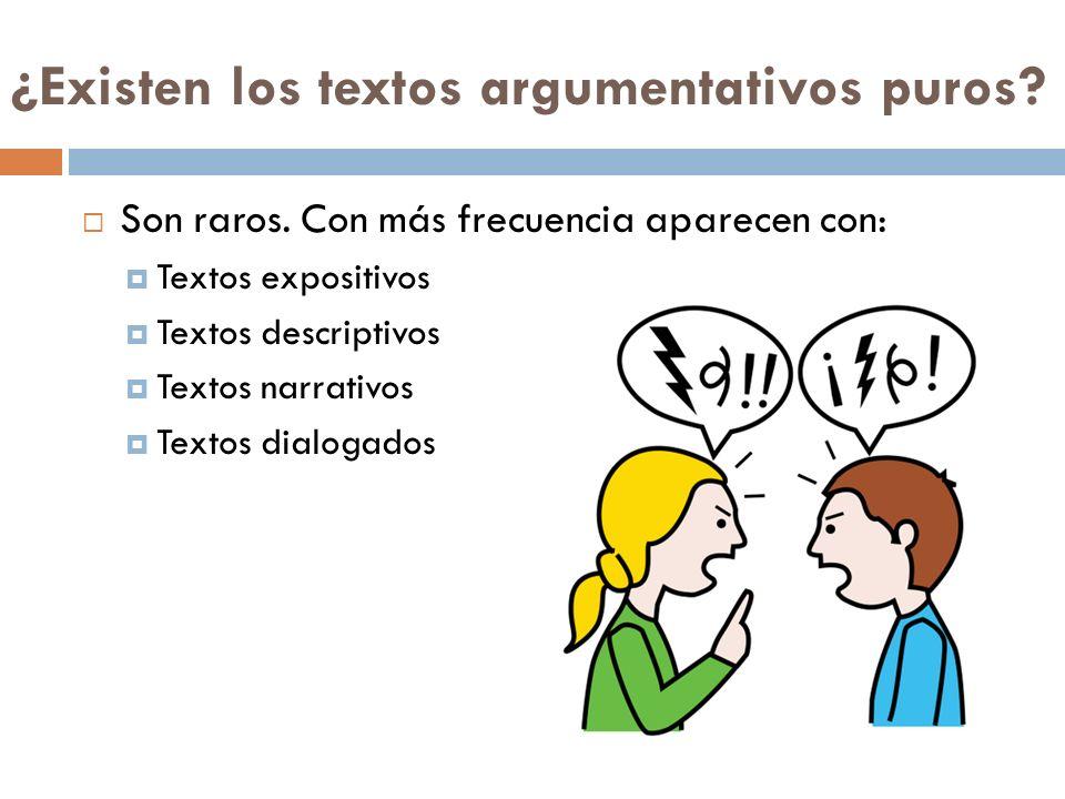 ¿Existen los textos argumentativos puros? Son raros. Con más frecuencia aparecen con: Textos expositivos Textos descriptivos Textos narrativos Textos