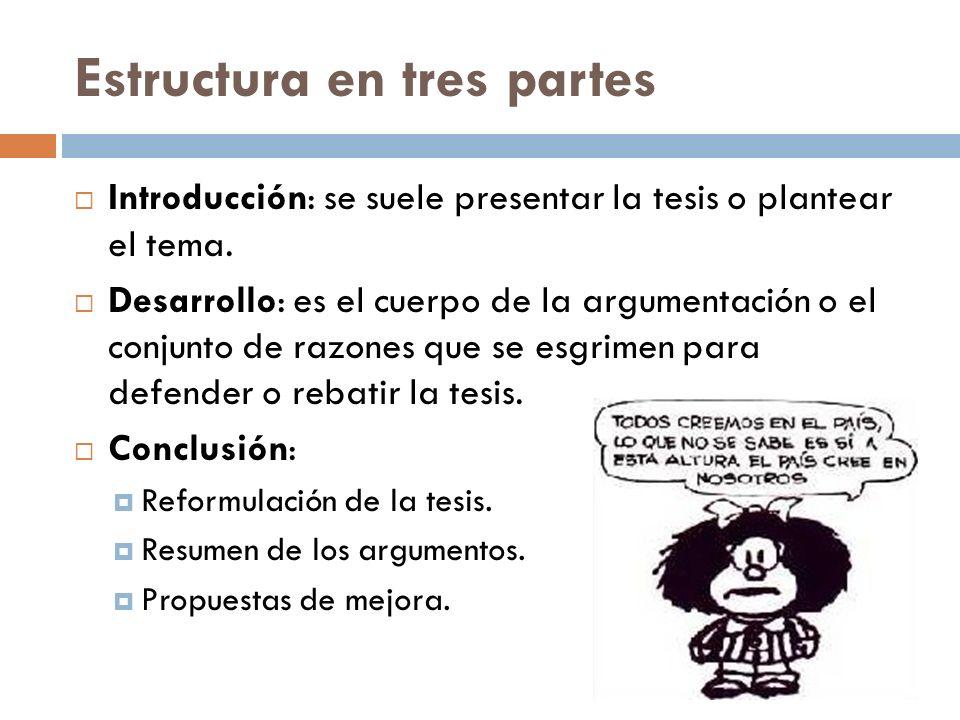 Estructura en tres partes Introducción: se suele presentar la tesis o plantear el tema. Desarrollo: es el cuerpo de la argumentación o el conjunto de