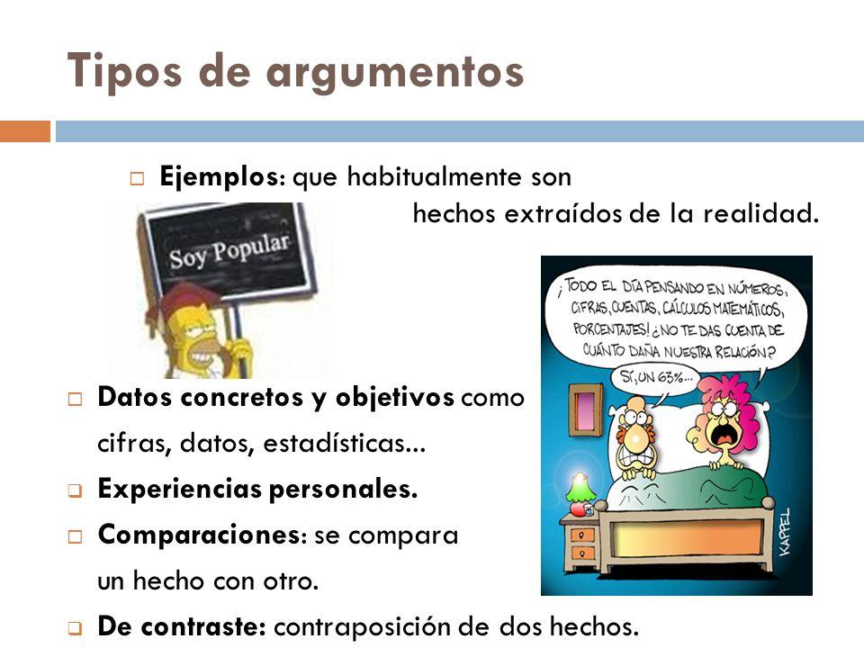 Tipos de argumentos Ejemplos: que habitualmente son hechos extraídos de la realidad. Datos concretos y objetivos como cifras, datos, estadísticas... E