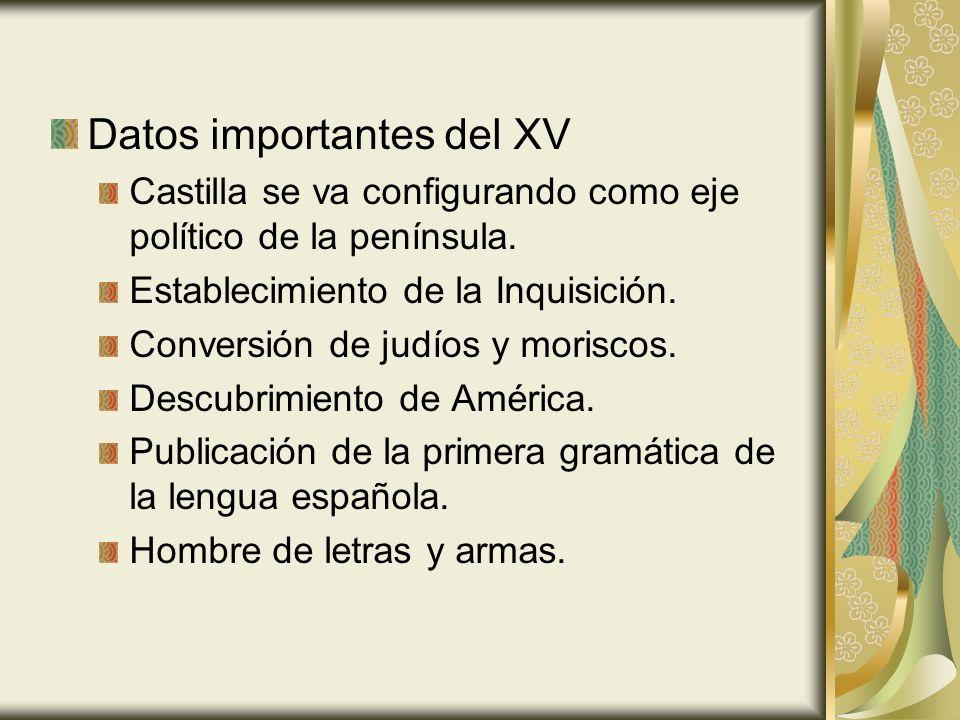 Datos importantes del XV Castilla se va configurando como eje político de la península.