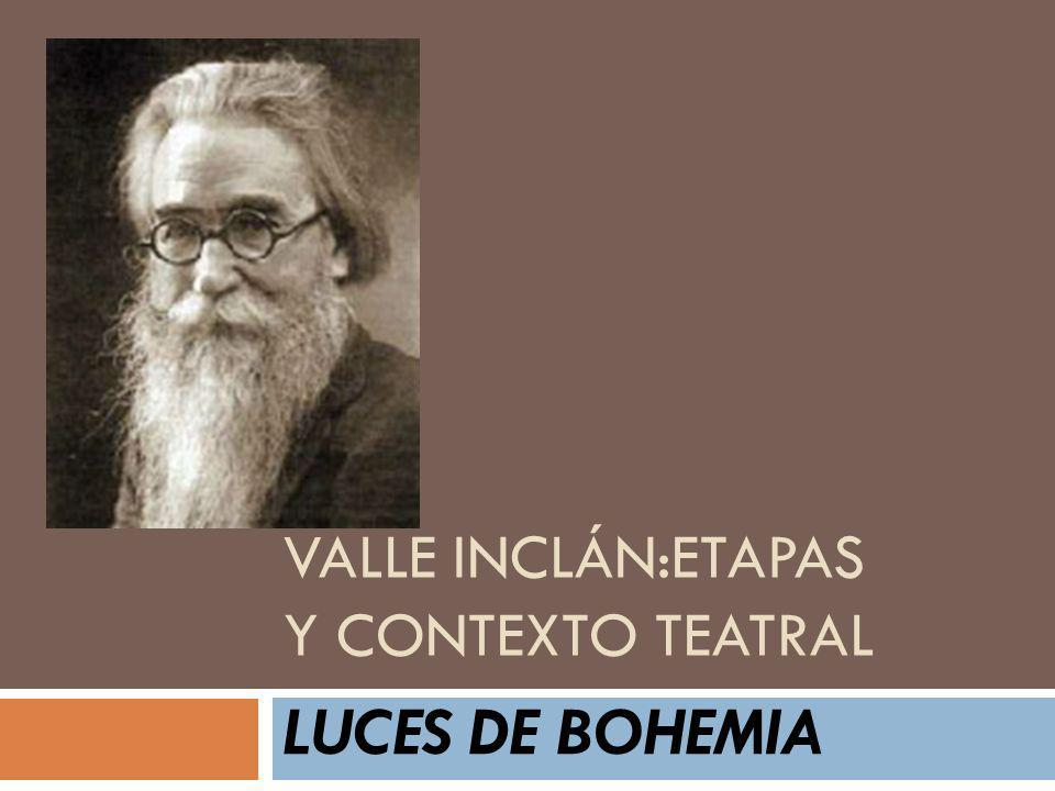 Luces de Bohemia: Estructura I IIIIIVIIVV VIIVIIIXIIXX XII XIIIXIVXV Cuerpo central Fin de la peregrinación Epílogo Preludio ESCENASESCENAS