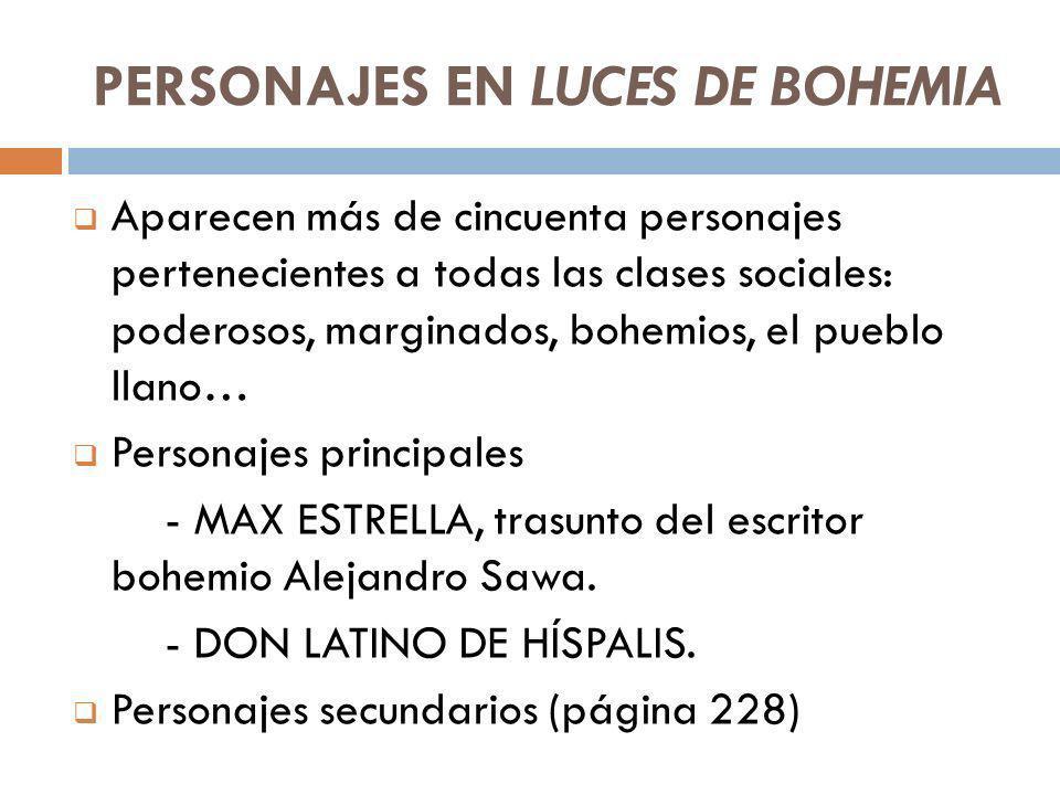 PERSONAJES EN LUCES DE BOHEMIA Aparecen más de cincuenta personajes pertenecientes a todas las clases sociales: poderosos, marginados, bohemios, el pu