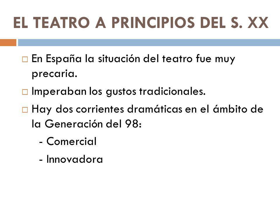EL TEATRO A PRINCIPIOS DEL S. XX En España la situación del teatro fue muy precaria. Imperaban los gustos tradicionales. Hay dos corrientes dramáticas