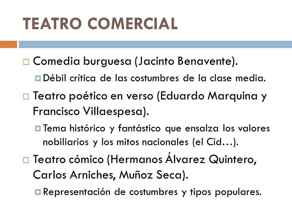 TEATRO COMERCIAL Comedia burguesa (Jacinto Benavente). Débil crítica de las costumbres de la clase media. Teatro poético en verso (Eduardo Marquina y