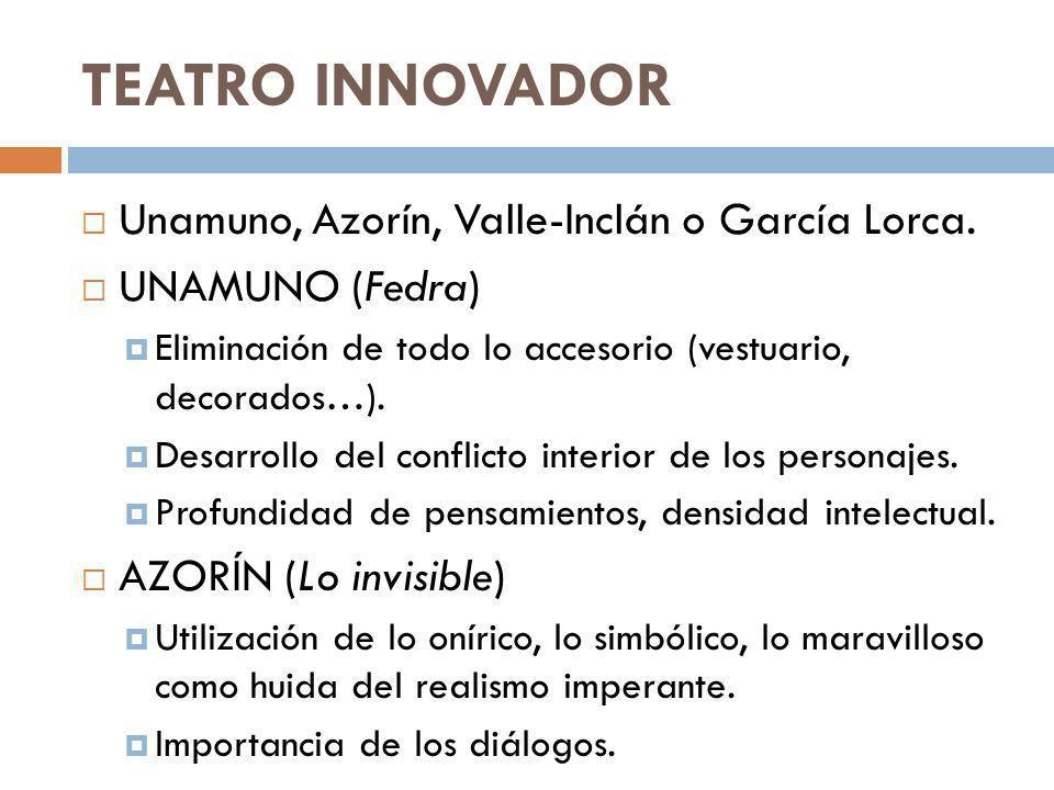 TEATRO INNOVADOR Unamuno, Azorín, Valle-Inclán o García Lorca. UNAMUNO (Fedra) Eliminación de todo lo accesorio (vestuario, decorados…). Desarrollo de