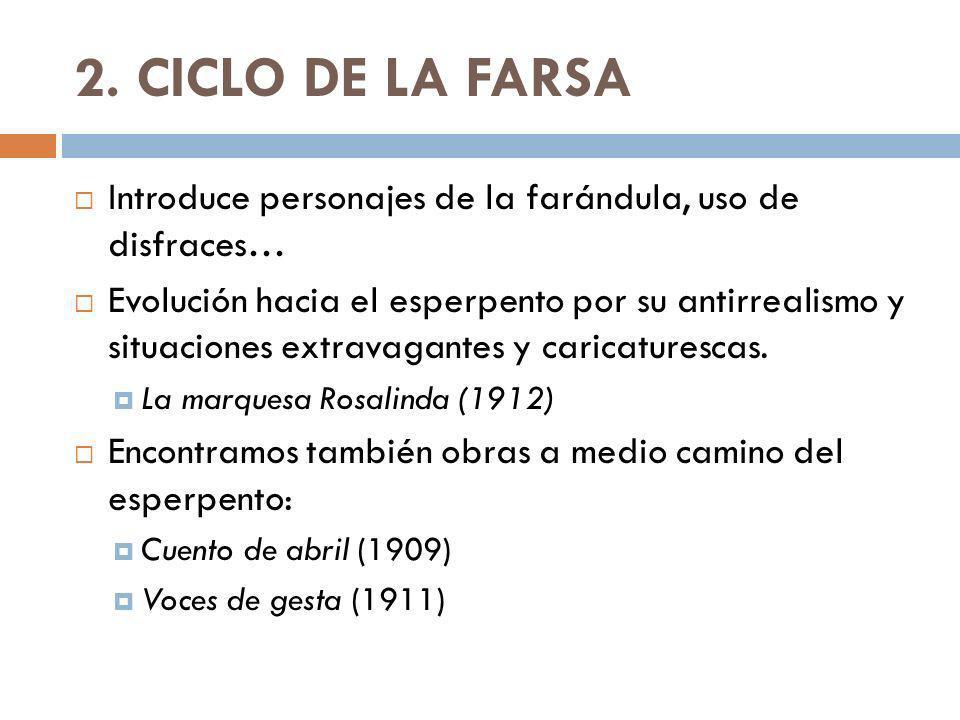 2. CICLO DE LA FARSA Introduce personajes de la farándula, uso de disfraces… Evolución hacia el esperpento por su antirrealismo y situaciones extravag
