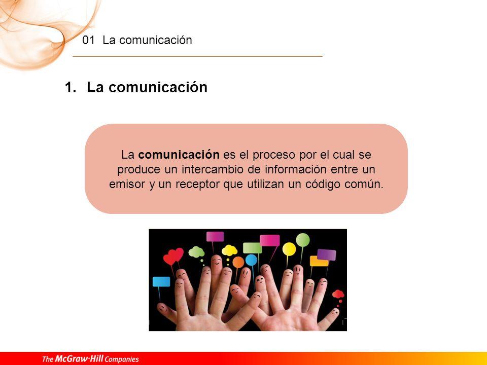 01 La comunicación 1 ÍNDICE 1.La comunicación. 2.El signo. Definición y clasificación. 3.Las funciones del lenguaje.