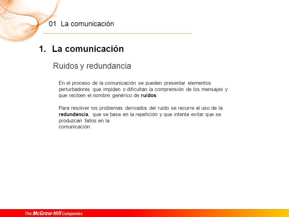 01 La comunicación 1. La comunicación Los elementos que intervienen en la comunicación humana Para que sea posible el acto comunicativo es necesaria l