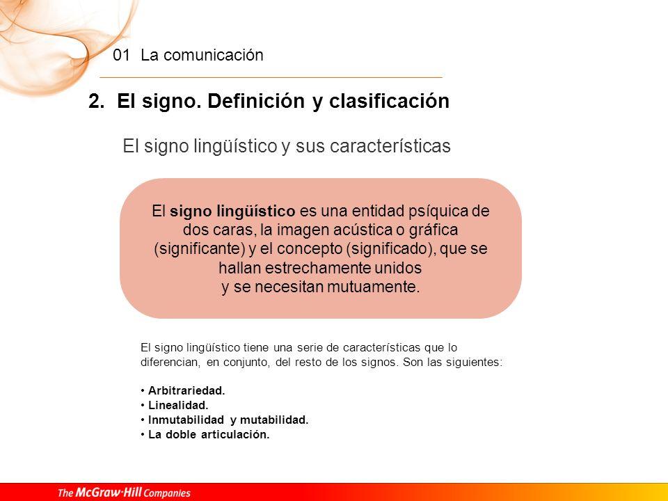 01 La comunicación 2. El signo. Definición y clasificación Clases de signos B. Tipos de signos según la relación entre el significante y el significad