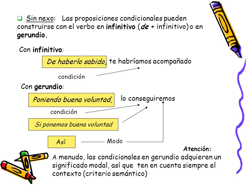 Sin nexo: Las proposiciones condicionales pueden construirse con el verbo en infinitivo (de + infinitivo) o en gerundio.
