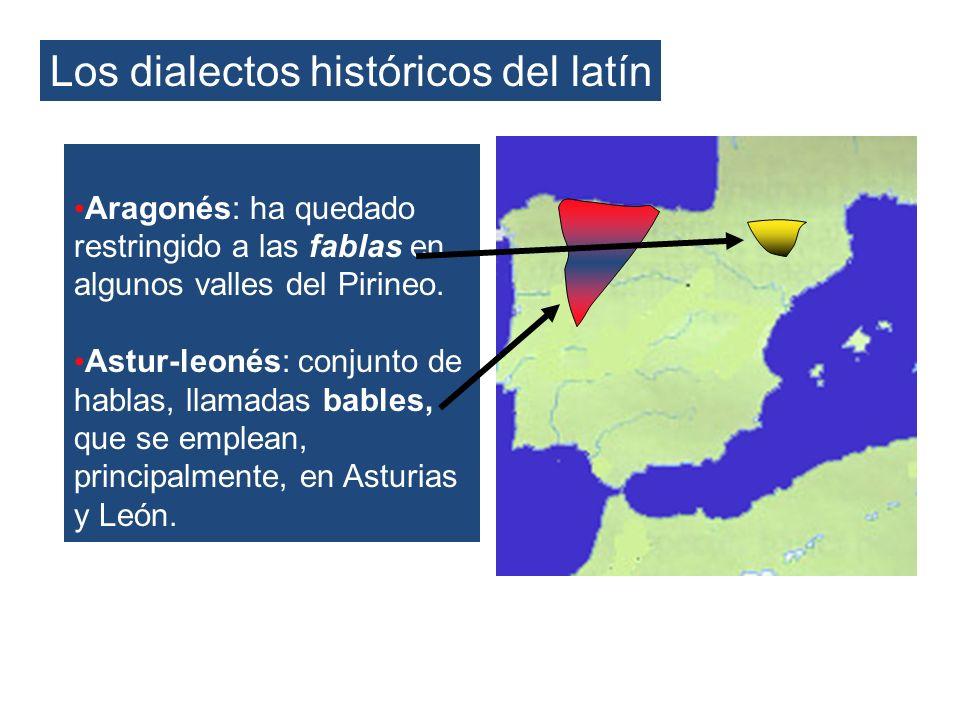Los dialectos históricos del latín Aragonés: ha quedado restringido a las fablas en algunos valles del Pirineo. Astur-leonés: conjunto de hablas, llam