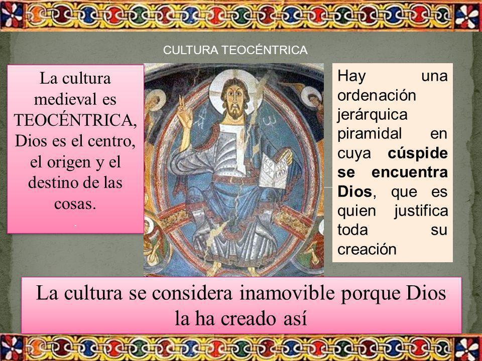 CULTURA TEOCÉNTRICA La cultura se considera inamovible porque Dios la ha creado así La cultura se considera inamovible porque Dios la ha creado así La
