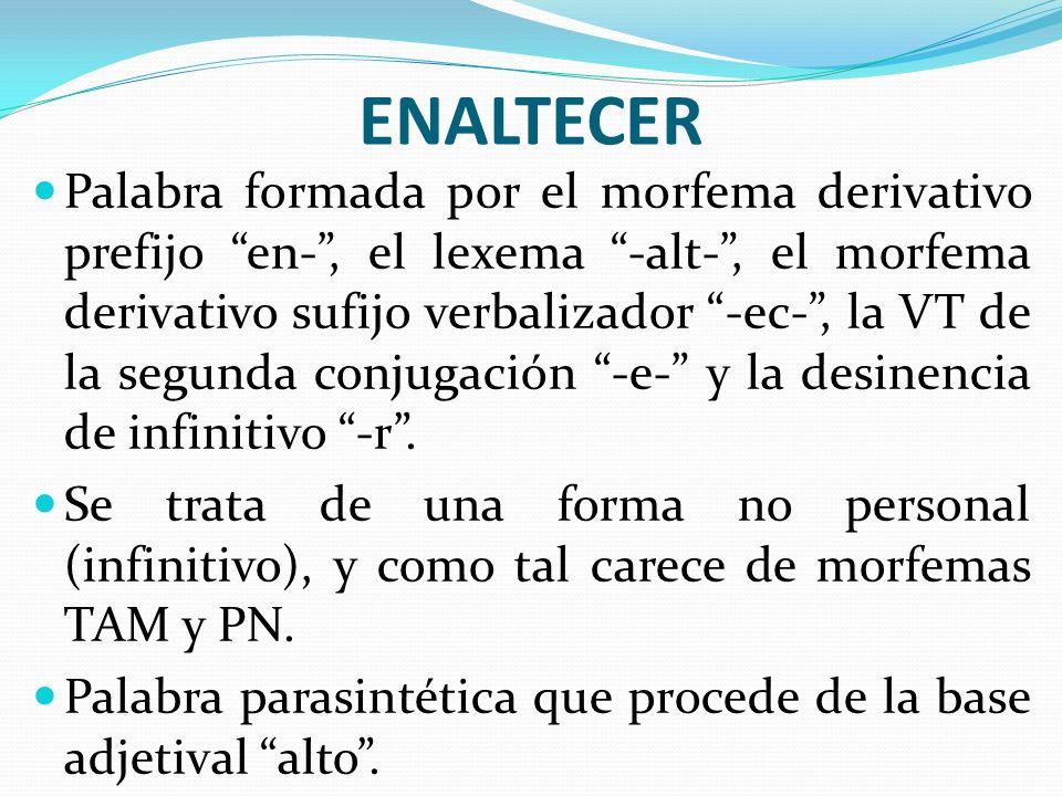 ENALTECER Palabra formada por el morfema derivativo prefijo en-, el lexema -alt-, el morfema derivativo sufijo verbalizador -ec-, la VT de la segunda