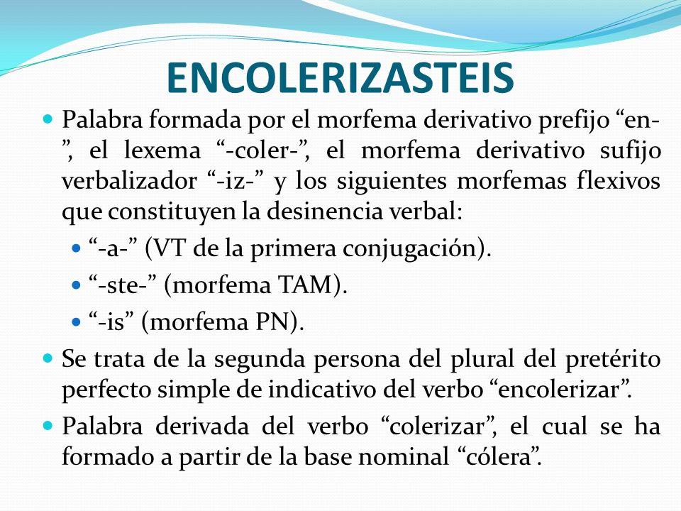 ENCOLERIZASTEIS Palabra formada por el morfema derivativo prefijo en-, el lexema -coler-, el morfema derivativo sufijo verbalizador -iz- y los siguien