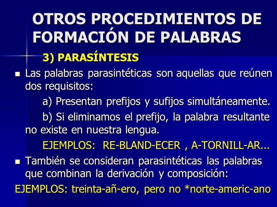 OTROS PROCEDIMIENTOS DE FORMACIÓN DE PALABRAS 3) PARASÍNTESIS Las palabras parasintéticas son aquellas que reúnen dos requisitos: Las palabras parasin