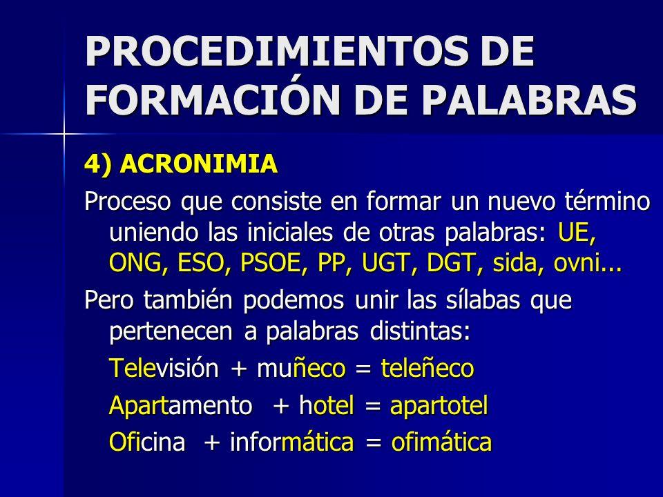 PROCEDIMIENTOS DE FORMACIÓN DE PALABRAS 4) ACRONIMIA Proceso que consiste en formar un nuevo término uniendo las iniciales de otras palabras: UE, ONG,