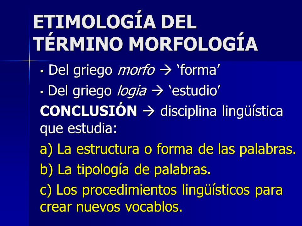 ETIMOLOGÍA DEL TÉRMINO MORFOLOGÍA Del griego morfo forma Del griego morfo forma Del griego logia estudio Del griego logia estudio CONCLUSIÓN disciplin