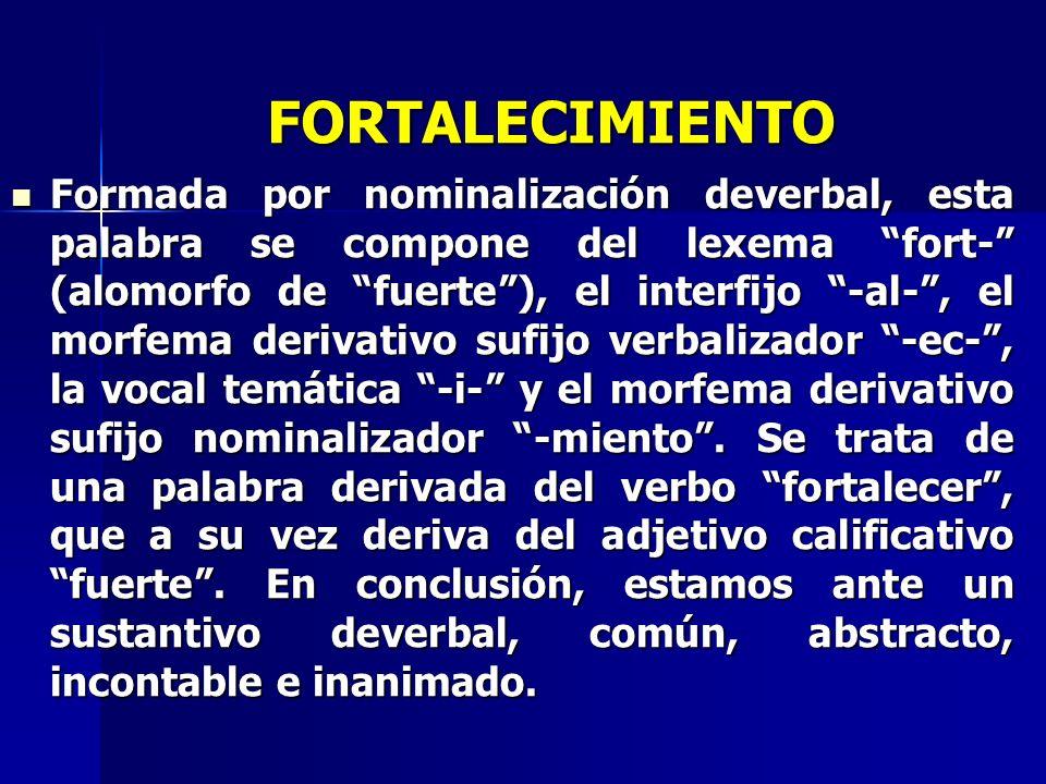 FORTALECIMIENTO Formada por nominalización deverbal, esta palabra se compone del lexema fort- (alomorfo de fuerte), el interfijo -al-, el morfema deri