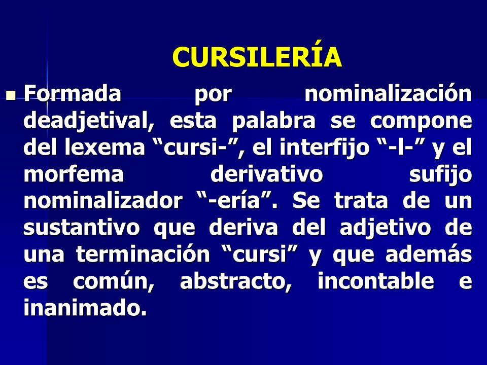 CURSILERÍA Formada por nominalización deadjetival, esta palabra se compone del lexema cursi-, el interfijo -l- y el morfema derivativo sufijo nominali