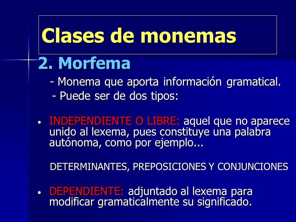 Clases de monemas 2. Morfema - Monema que aporta información gramatical. - Monema que aporta información gramatical. - Puede ser de dos tipos: - Puede
