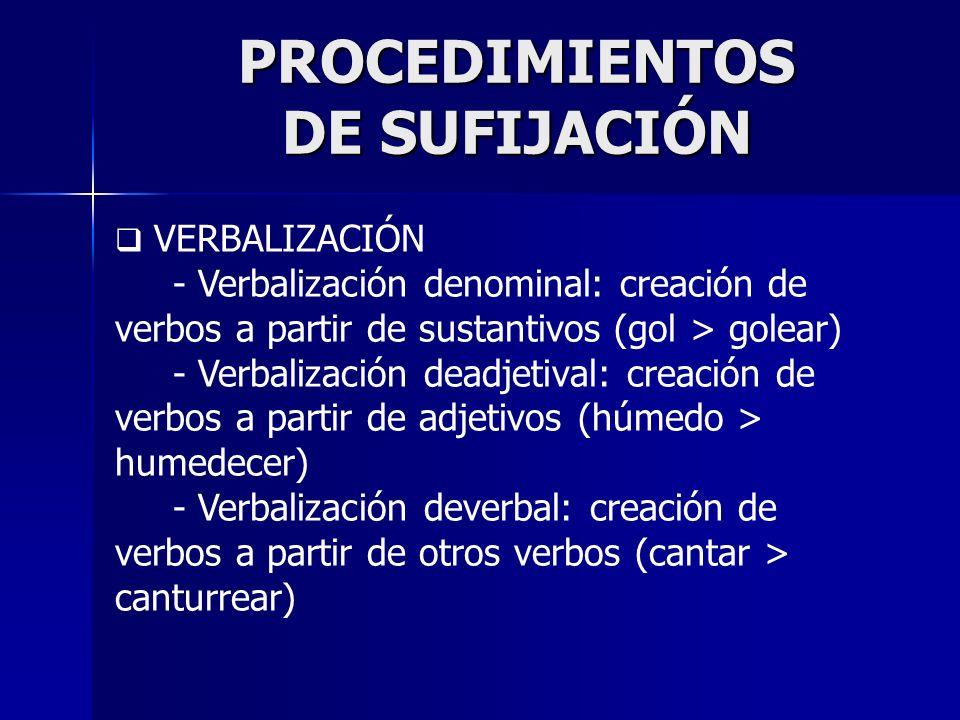 PROCEDIMIENTOS DE SUFIJACIÓN VERBALIZACIÓN - Verbalización denominal: creación de verbos a partir de sustantivos (gol > golear) - Verbalización deadje