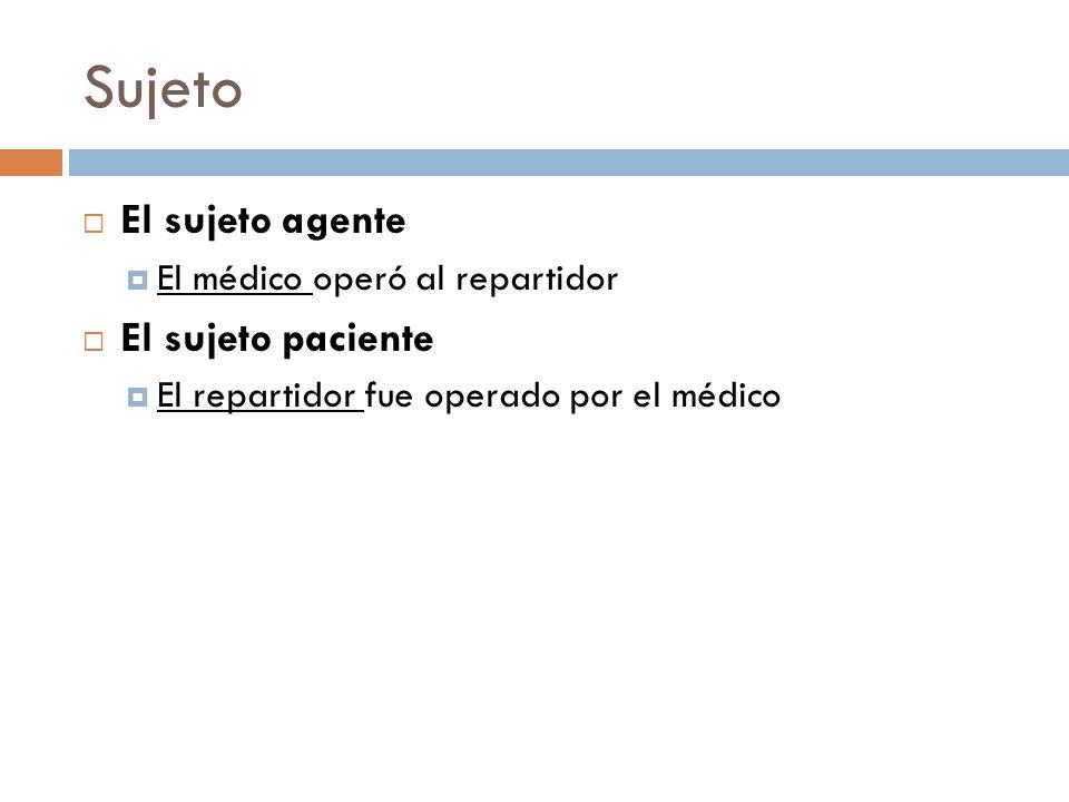 Sujeto El sujeto agente El médico operó al repartidor El sujeto paciente El repartidor fue operado por el médico