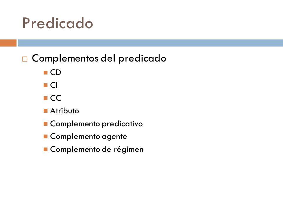 Predicado Complementos del predicado CD CI CC Atributo Complemento predicativo Complemento agente Complemento de régimen