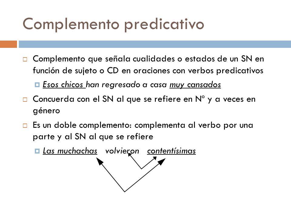 Complemento predicativo Complemento que señala cualidades o estados de un SN en función de sujeto o CD en oraciones con verbos predicativos Esos chico