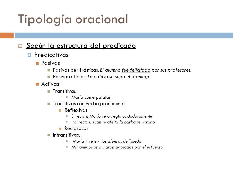Tipología oracional Según la estructura del predicado Predicativas Pasivas Pasivas perifrásticas: El alumno fue felicitado por sus profesores. Pasivor