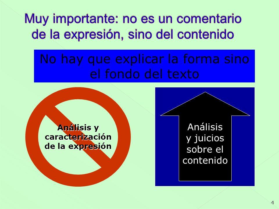 4 Análisis y caracterización de la expresión Análisis y juicios sobre el contenido No hay que explicar la forma sino el fondo del texto