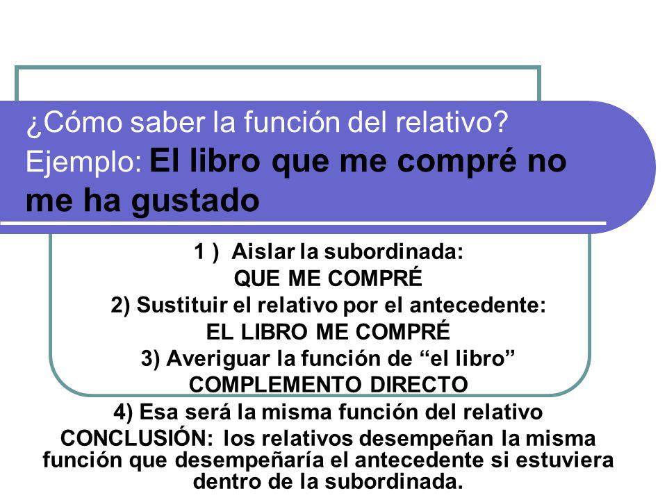 ¿Cómo saber la función del relativo? Ejemplo: El libro que me compré no me ha gustado 1 ) Aislar la subordinada: QUE ME COMPRÉ 2) Sustituir el relativ