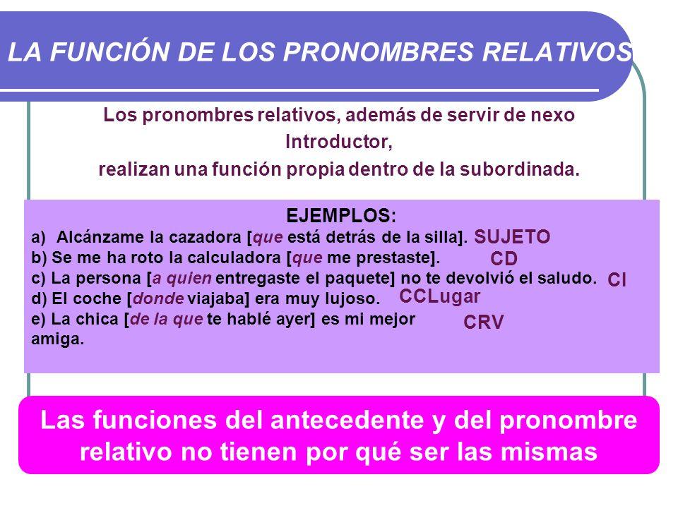 LA FUNCIÓN DE LOS PRONOMBRES RELATIVOS Los pronombres relativos, además de servir de nexo Introductor, realizan una función propia dentro de la subord