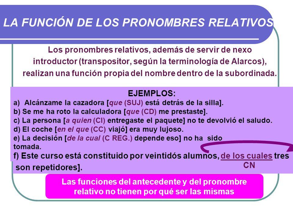 LA FUNCIÓN DE LOS PRONOMBRES RELATIVOS Los pronombres relativos, además de servir de nexo introductor (transpositor, según la terminología de Alarcos)