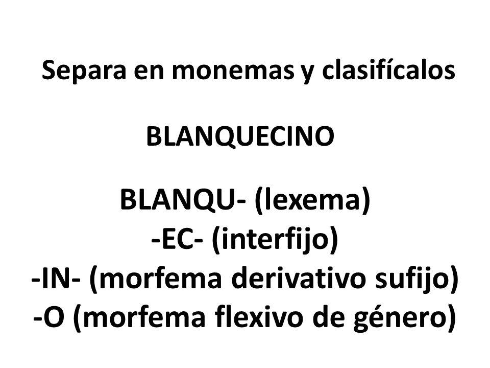 Separa en monemas y clasifícalos BLANQUECINO BLANQU- (lexema) -EC- (interfijo) -IN- (morfema derivativo sufijo) -O (morfema flexivo de género)