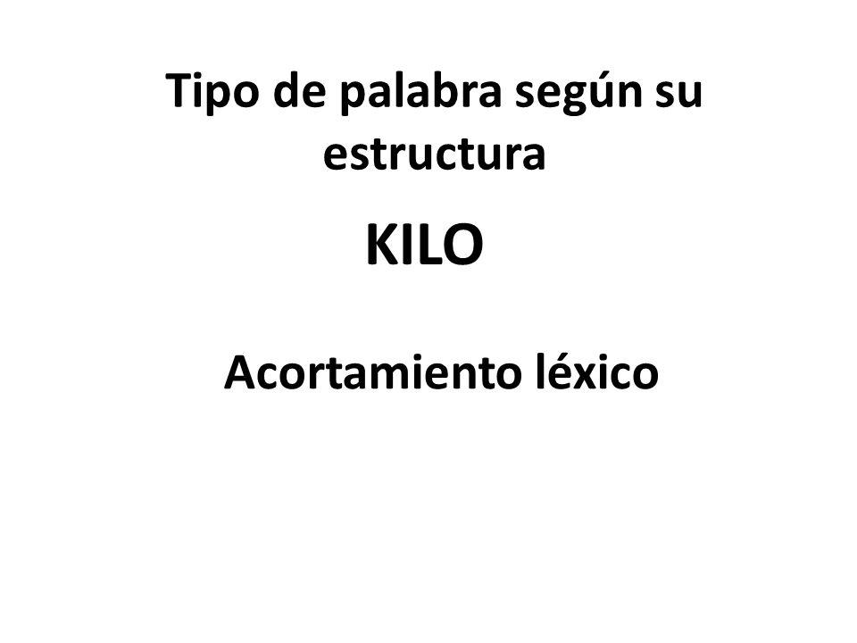 Tipo de palabra según su estructura KILO Acortamiento léxico