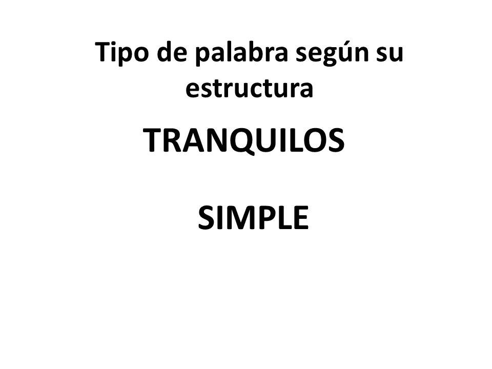 Tipo de palabra según su estructura TRANQUILOS SIMPLE