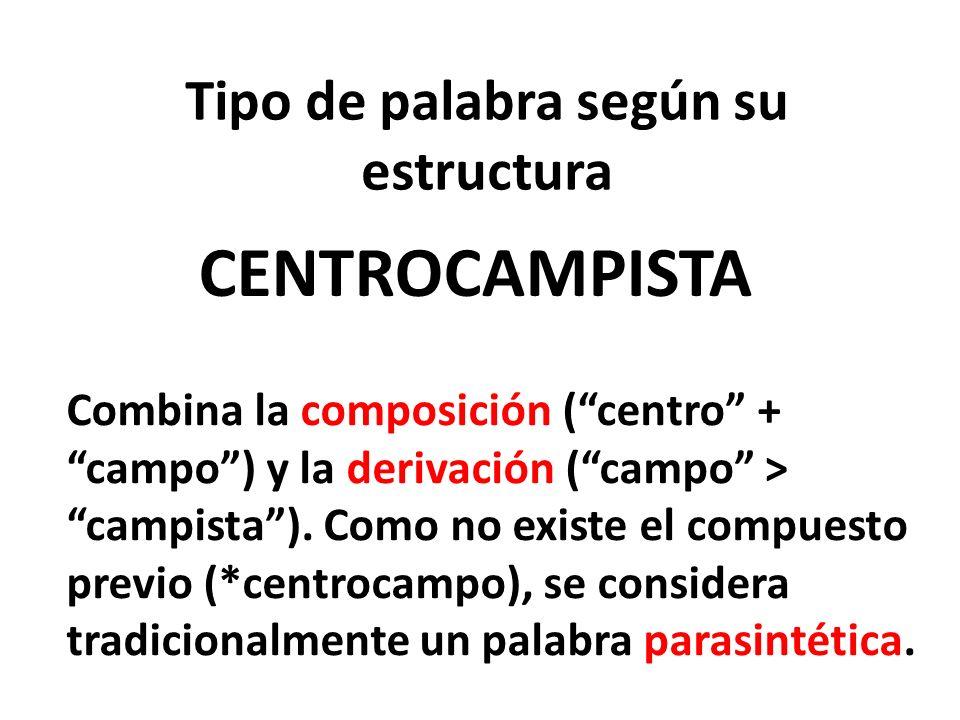 Tipo de palabra según su estructura CENTROCAMPISTA Combina la composición (centro + campo) y la derivación (campo > campista). Como no existe el compu