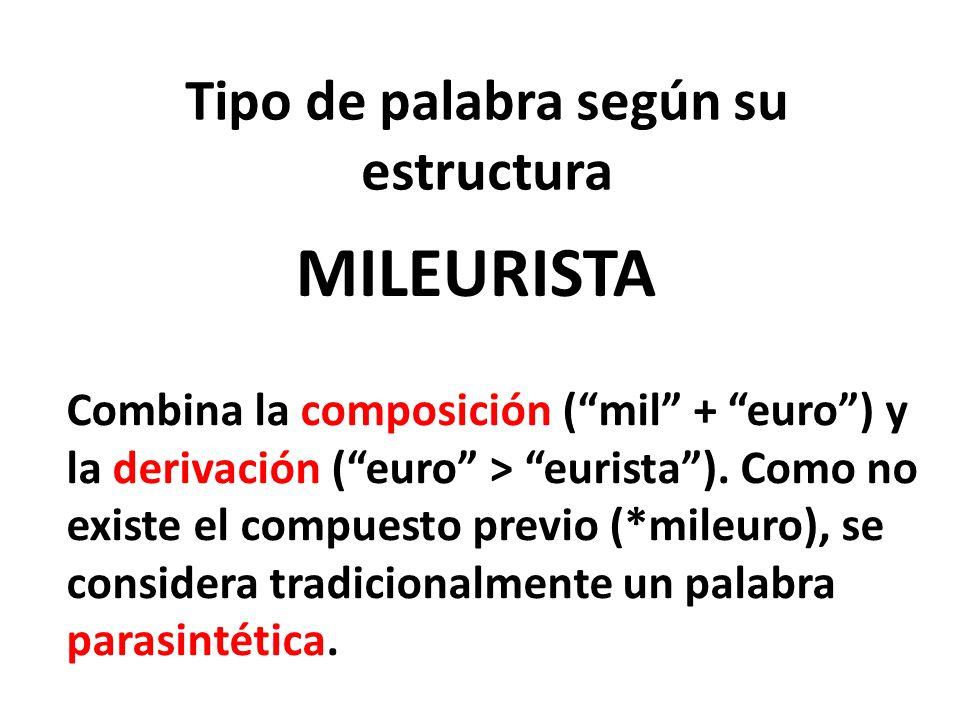 Tipo de palabra según su estructura MILEURISTA Combina la composición (mil + euro) y la derivación (euro > eurista). Como no existe el compuesto previ