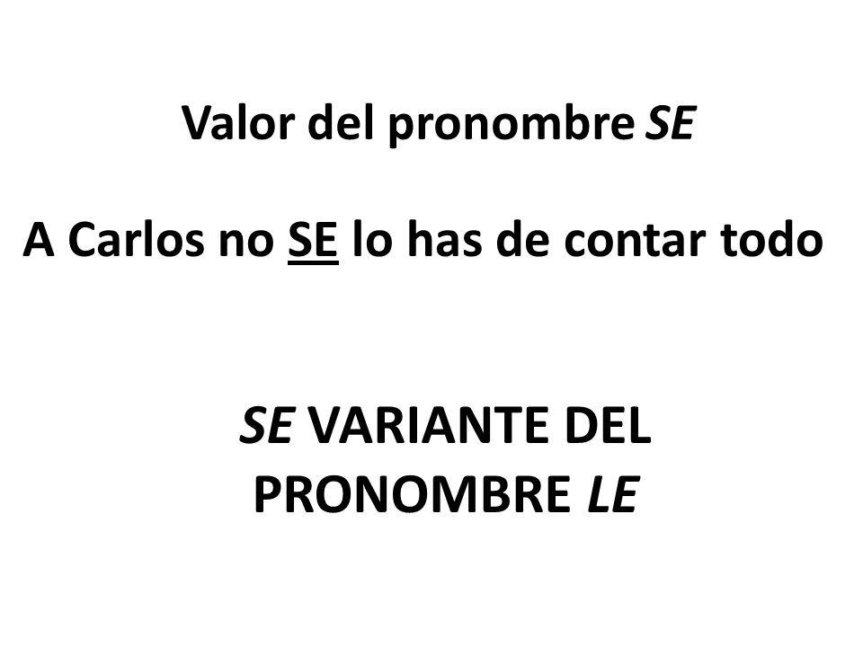 Valor del pronombre SE A Carlos no SE lo has de contar todo SE VARIANTE DEL PRONOMBRE LE
