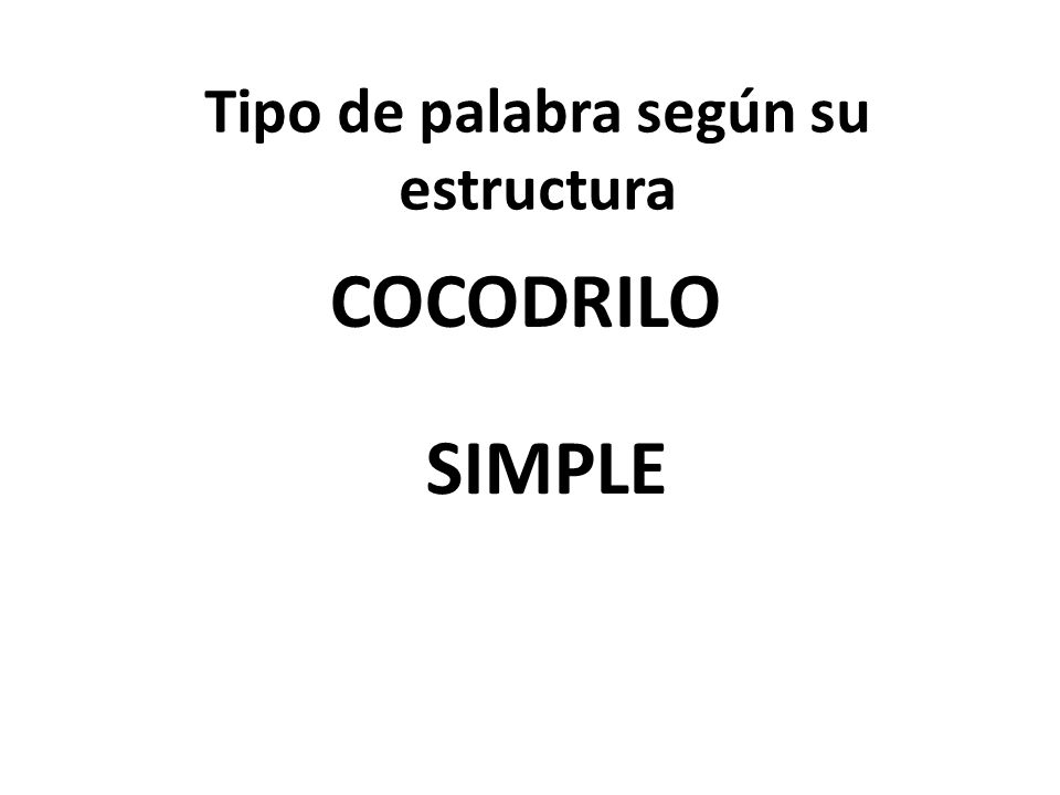 Tipo de palabra según su estructura COCODRILO SIMPLE